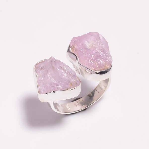 Raw Kunzite Gemstone 925 Sterling Silver Ring Size US 8 Adjustable