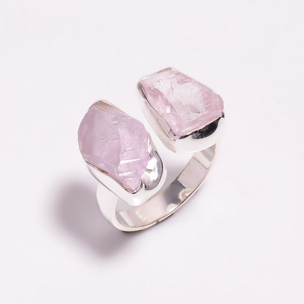 Raw Kunzite Gemstone 925 Sterling Silver Ring Size US 7.25 Adjustable