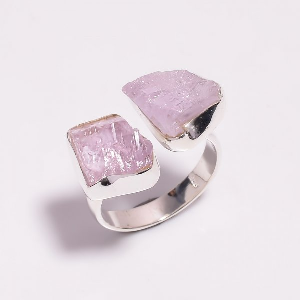 Raw Kunzite Gemstone 925 Sterling Silver Ring Size US 8.75 Adjustable