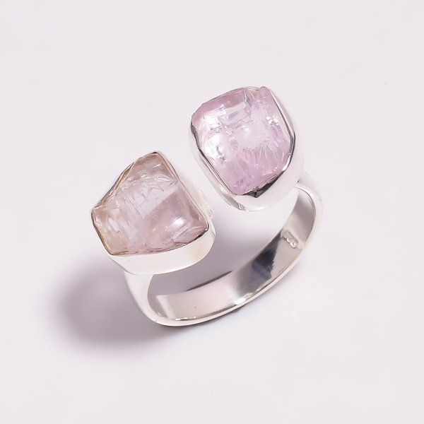Raw Kunzite Gemstone 925 Sterling Silver Ring Size US 8.5 Adjustable
