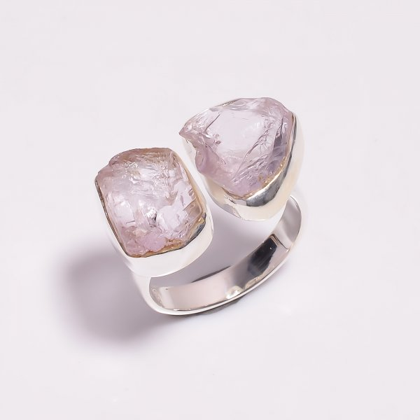 Raw Kunzite Gemstone 925 Sterling Silver Ring Size US 6.25 Adjustable