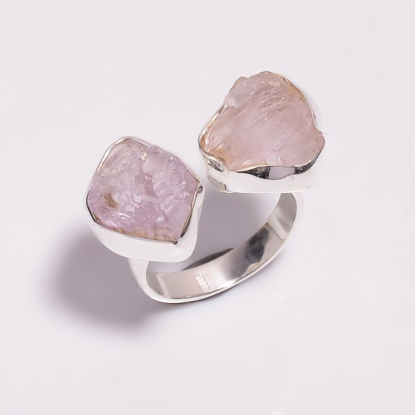 Raw Kunzite Gemstone 925 Sterling Silver Ring Size US 6.5 Adjustable
