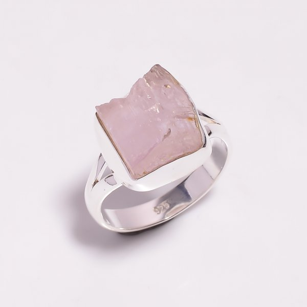 Raw Kunzite Gemstone 925 Sterling Silver Ring Size US 8.75