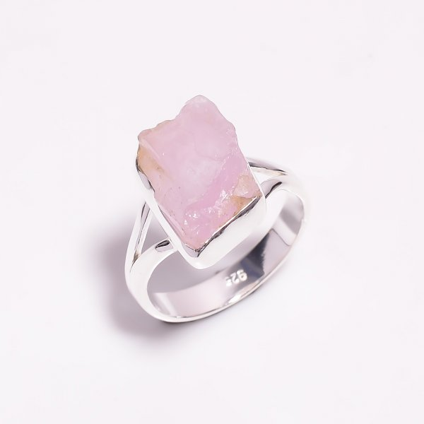 Raw Kunzite Gemstone 925 Sterling Silver Ring Size US 7.25