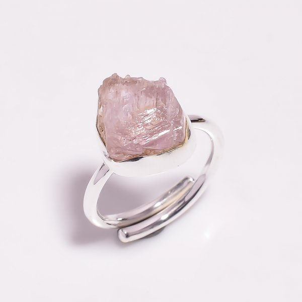 Raw Kunzite Gemstone 925 Sterling Silver Ring Size US 7.75 Adjustable