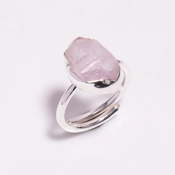 Raw Kunzite Gemstone 925 Sterling Silver Ring Size US 7 Adjustable