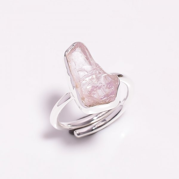 Raw Kunzite Gemstone 925 Sterling Silver Ring Size US 6.75 Adjustable