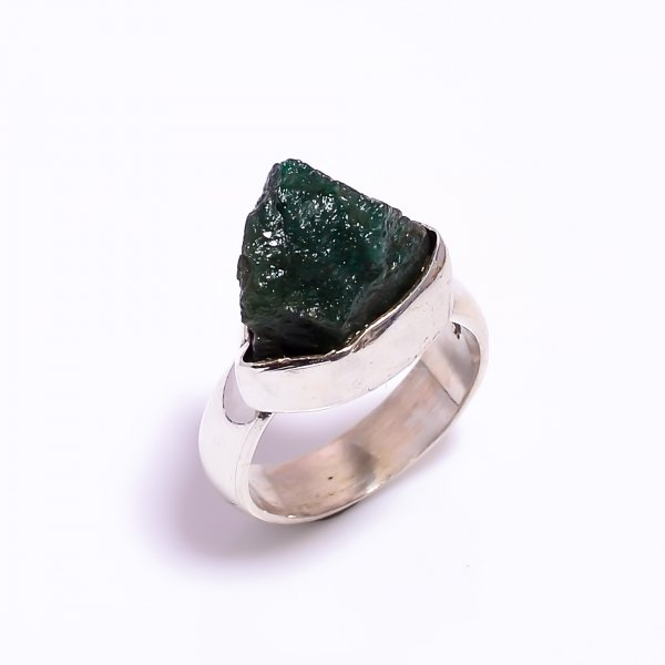 Raw Green Aventurine Gemstone 925 Sterling Silver Ring Size US 4.75