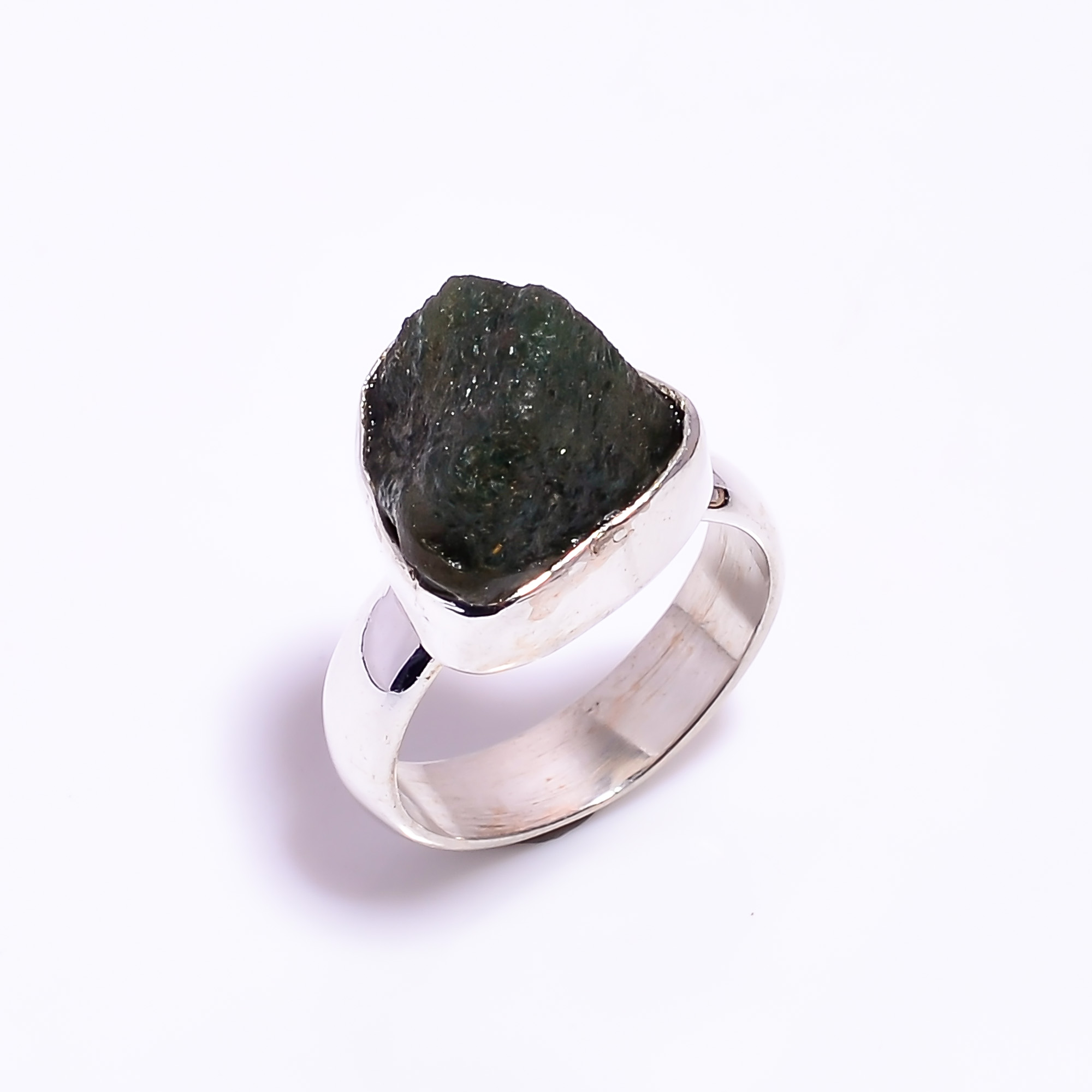 Raw Green Aventurine Gemstone 925 Sterling Silver Ring Size US 5.75