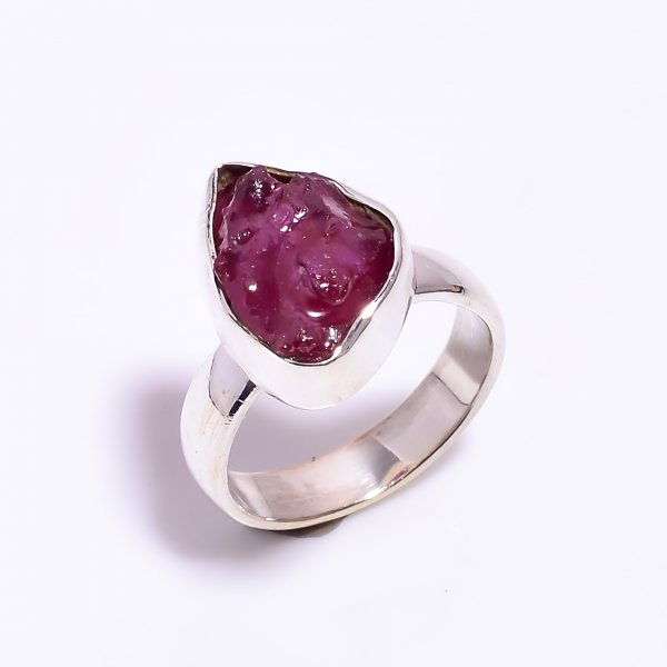 Raw Ruby Gemstone 925 Sterling Silver Ring Size US 6.5