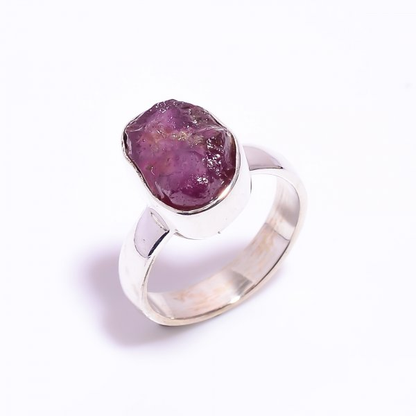 Raw Ruby Gemstone 925 Sterling Silver Ring Size US 7.75