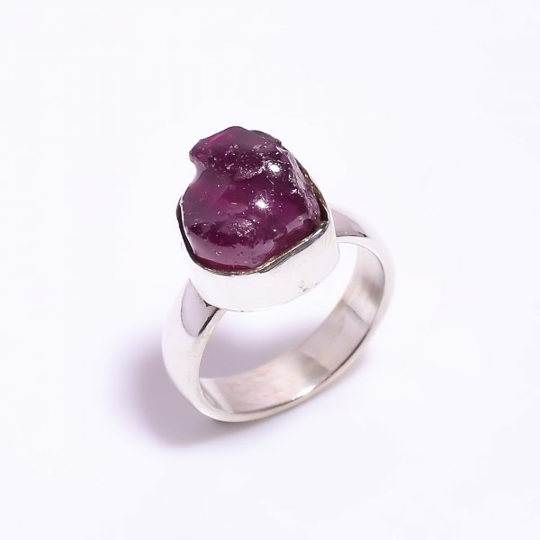 Raw Ruby Gemstone 925 Sterling Silver Ring Size US 5.5