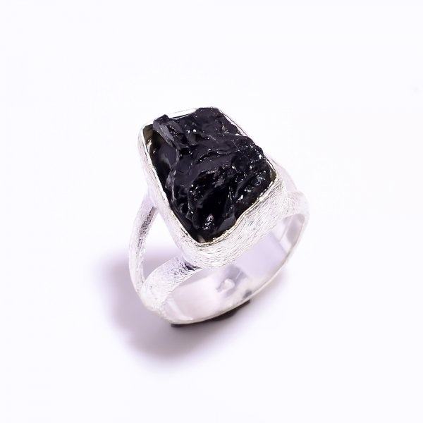 Raw Black Tourmaline Gemstone 925 Sterling Silver Ring Size US 5.75