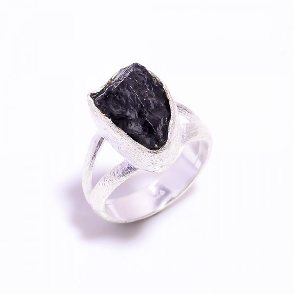 Raw Black Tourmaline Gemstone 925 Sterling Silver Ring Size US 7