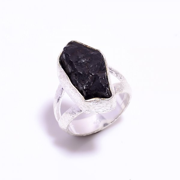 Raw Black Tourmaline Gemstone 925 Sterling Silver Ring Size US 5.5