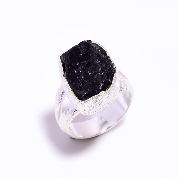 Raw Black Tourmaline Gemstone 925 Sterling Silver Ring Size US 4.5