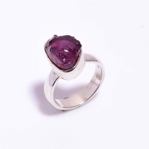 Raw Ruby Gemstone 925 Sterling Silver Ring Size US 5.75
