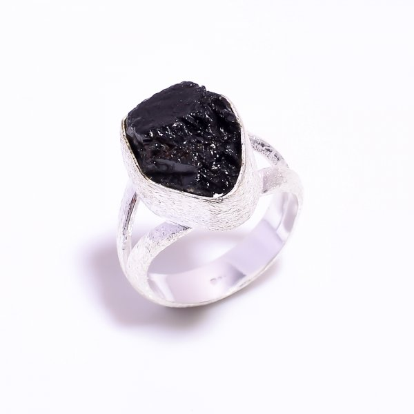 Raw Black Tourmaline Gemstone 925 Sterling Silver Ring Size US 6.75