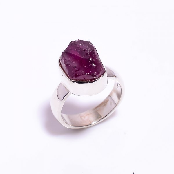 Raw Ruby Gemstone 925 Sterling Silver Ring Size US 4.5