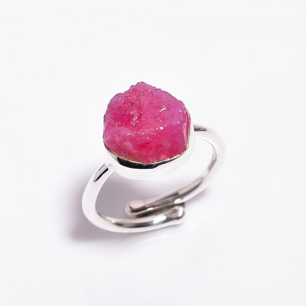 Raw Ruby Gemstone 925 Sterling Silver Ring Size US 6.75 Adjustable
