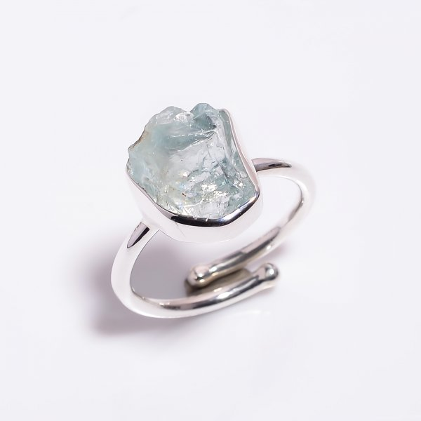 Aquamarine Raw Gemstone 925 Sterling Silver Ring Size US 8 Adjustable