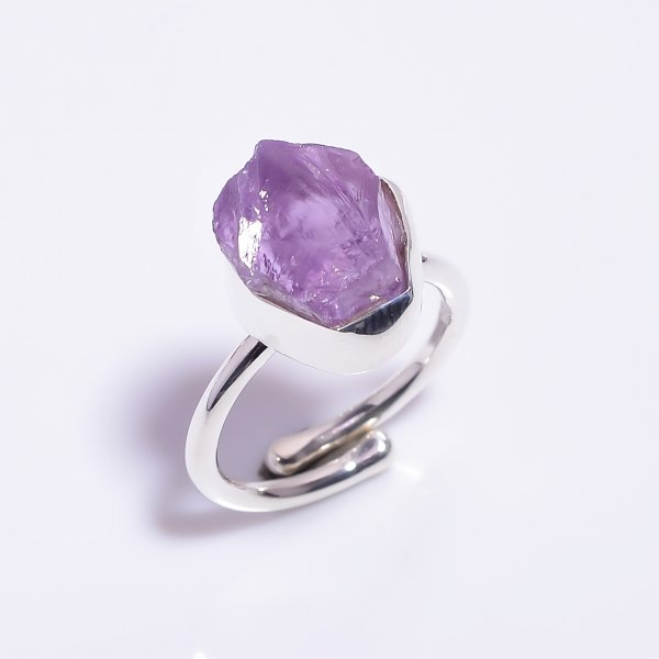 Amethyst Raw Gemstone 925 Sterling Silver Ring Size US 6 Adjustable