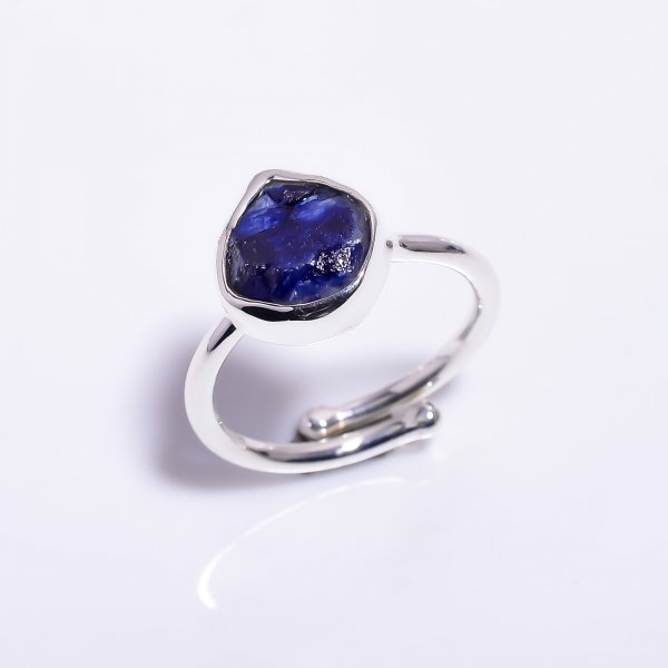 Sapphire Raw Gemstone 925 Sterling Silver Ring Size US 8 Adjustable