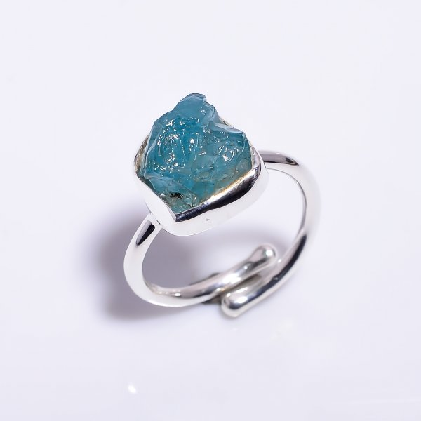 Sky Apatite Raw Gemstone 925 Sterling Silver Ring Size US 6.75 Adjustable