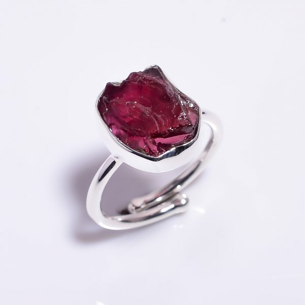 Garnet Raw Gemstone 925 Sterling Silver Ring Size US 8.5 Adjustable