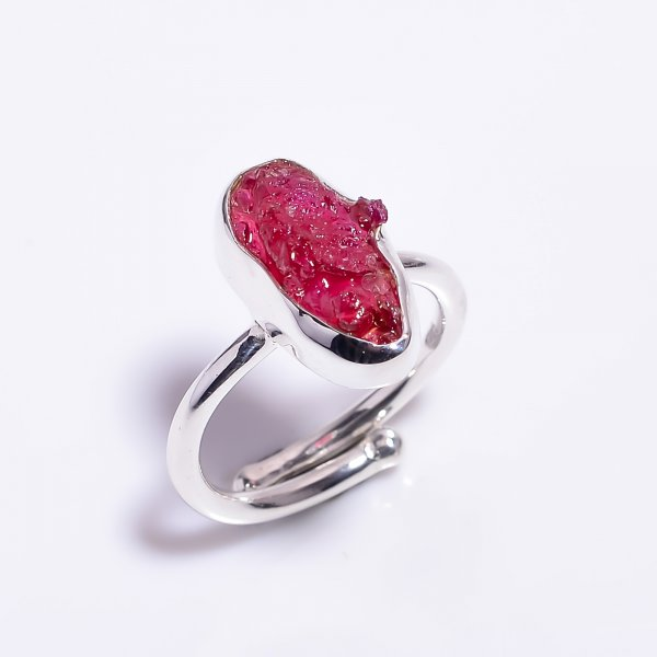 Raw Ruby Gemstone 925 Sterling Silver Ring Size US 6.5 Adjustable