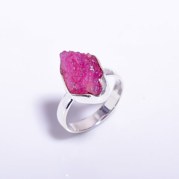 Raw Ruby Gemstone 925 Sterling Silver Ring Size US 6.75
