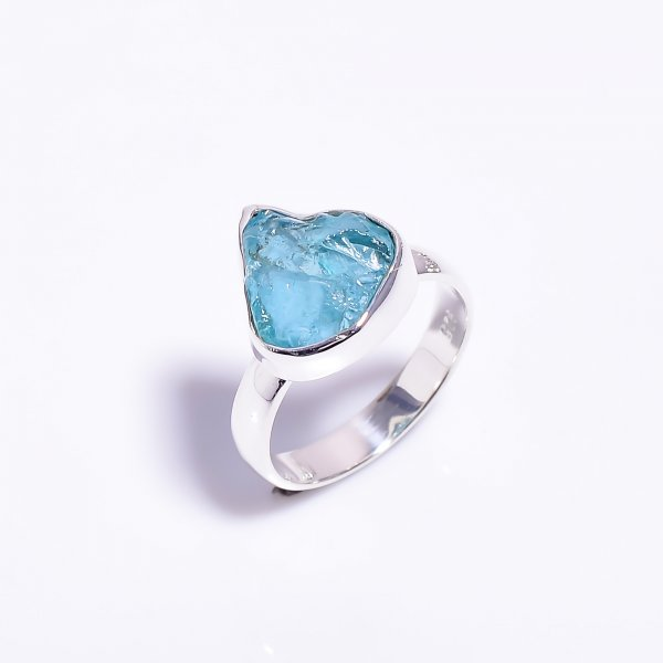 Sky Apatite Raw Gemstone 925 Sterling Silver Ring Size US 6.5