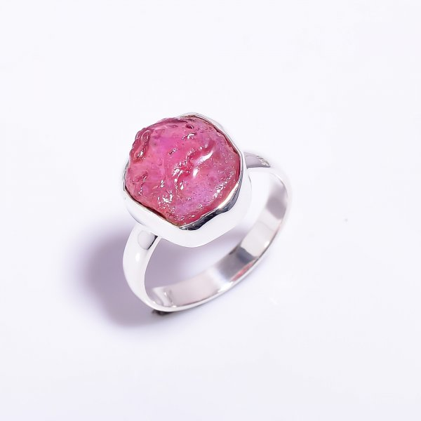 Raw Ruby Gemstone 925 Sterling Silver Ring Size US 7.5