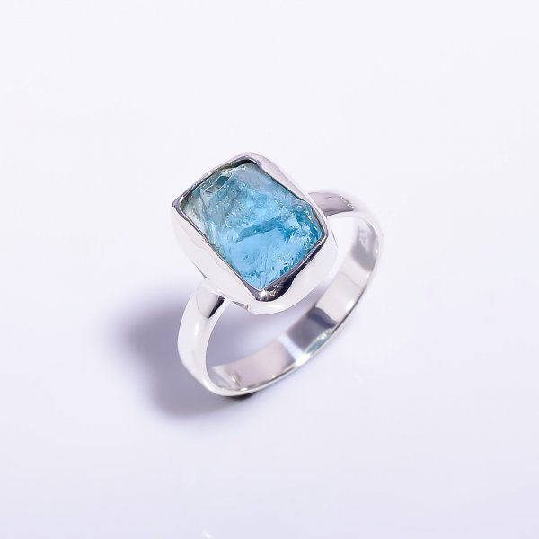 Sky Apatite Raw Gemstone 925 Sterling Silver Ring Size US 8.5