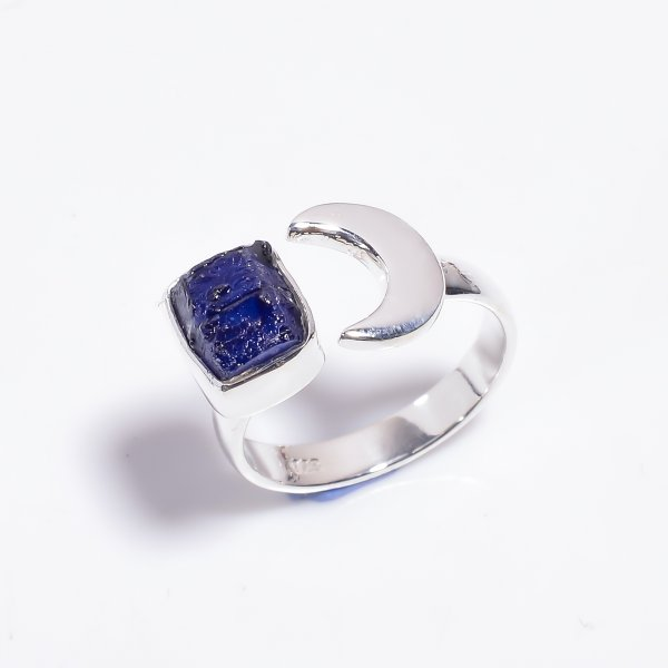 Raw Sapphire Gemstone 925 Sterling Silver Ring Size US 8.75 Adjustable