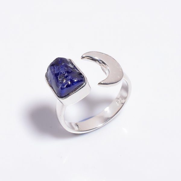 Raw Sapphire Gemstone 925 Sterling Silver Ring Size US 8 Adjustable