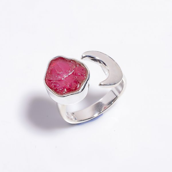 Raw Ruby Gemstone 925 Sterling Silver Ring Size US 5.5 Adjustable