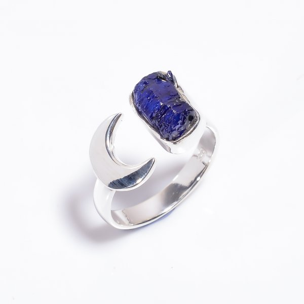 Raw Sapphire Gemstone 925 Sterling Silver Ring Size US 9.5 Adjustable