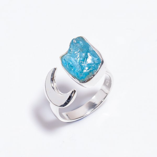 Raw Sky Apatite Gemstone 925 Sterling Silver Ring Size US 8 Adjustable