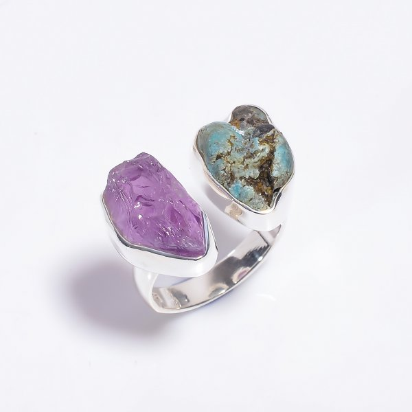 Raw Amethyst Turquoise Gemstone 925 Sterling Silver Ring Size US 6.75 Adjustable
