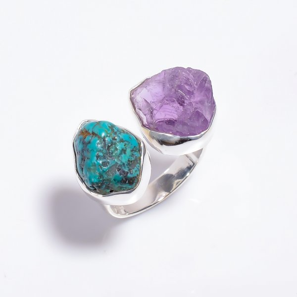 Raw Amethyst Turquoise Gemstone 925 Sterling Silver Ring Size US 8 Adjustable