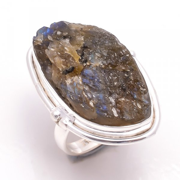 Labradorite Raw Gemstone 925 Sterling Silver Ring Size 6