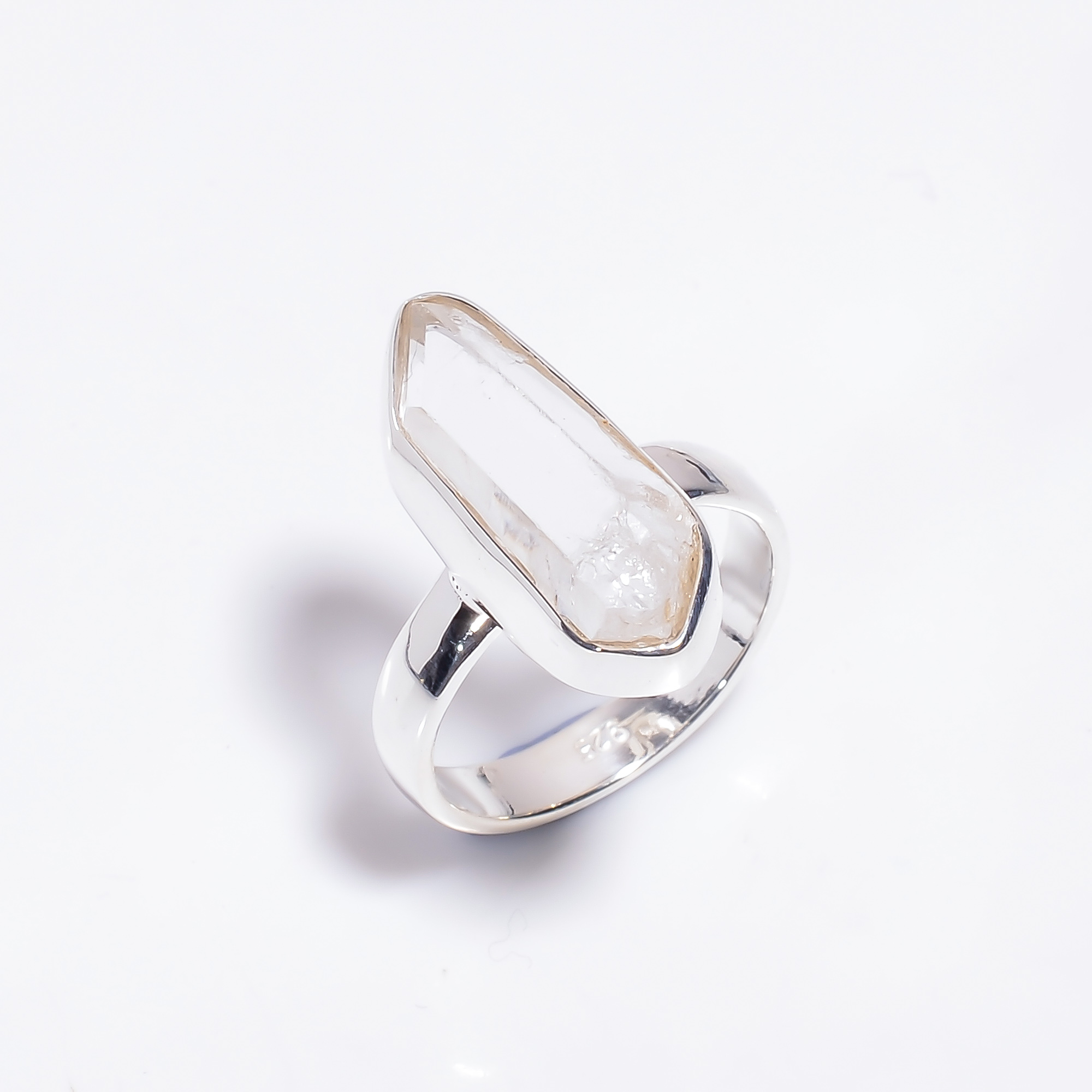 Crystal Raw  Gemstone 925 Sterling Silver Ring Size US 6