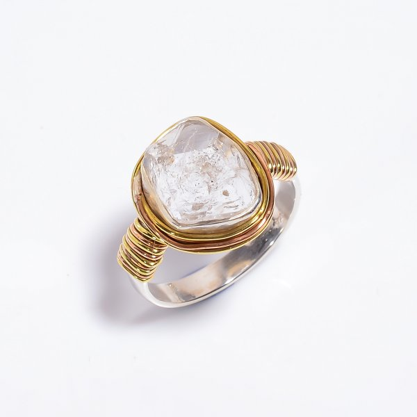Natural Herkimer Diamond 925 Sterling Silver Wire Wrapped Ring Size US 9