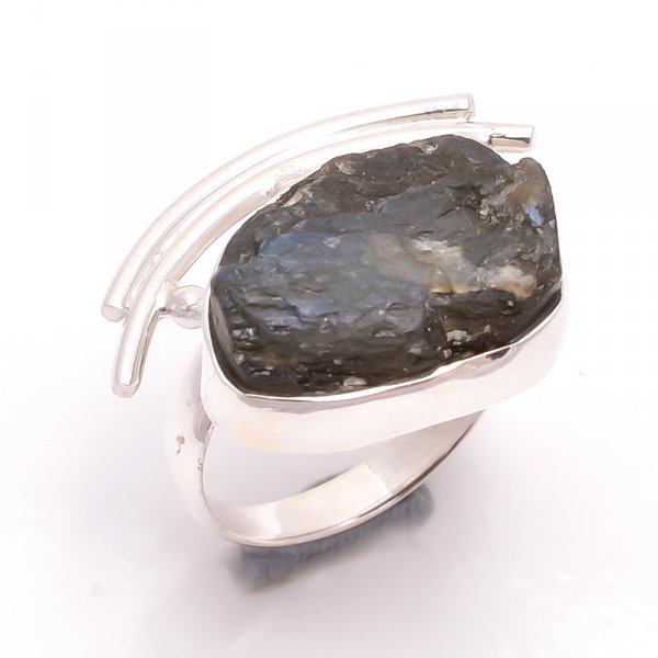 Labradorite Raw Gemstone 925 Sterling Silver Ring Size 8