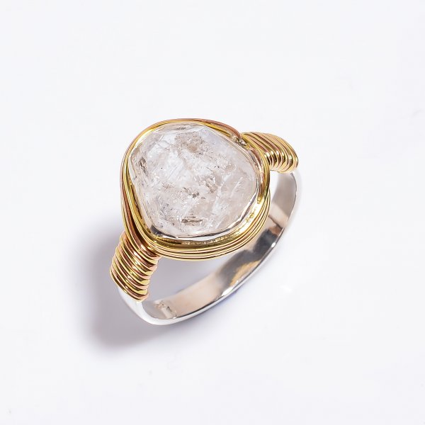 Natural Herkimer Diamond 925 Sterling Silver Wire Wrapped Ring Size US 10.5