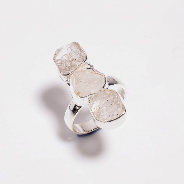 Natural Herkimer Diamond 925 Sterling Silver Three Stone Ring