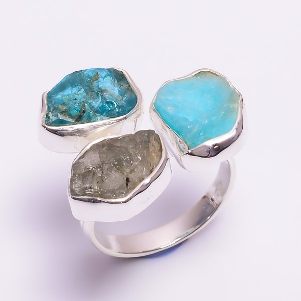 Natural Amazonite Labradorite Raw Gemstone 925 Sterling Silver Ring Size US 8.25 Adjustable