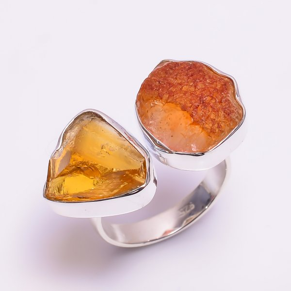 Natural Citrine Carnelian Raw Gemstone 925 Sterling Silver Ring Size US 8 Adjustable