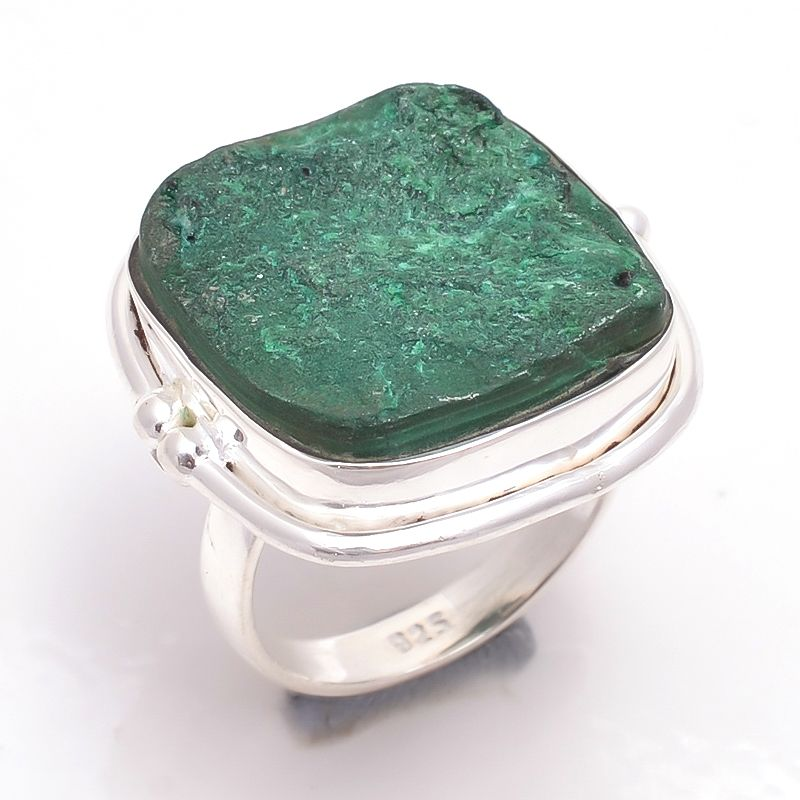 Malachite Raw Gemstone 925 Sterling Silver Ring Size 8
